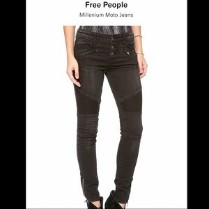Free People Millennium Moto Jeans in Black